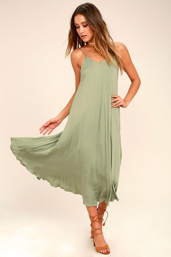 Lasting Memories Washed Olive Green Midi Dress 1