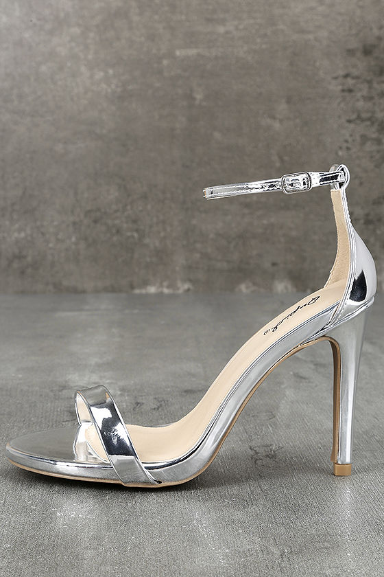 All-Star Cast Silver Patent Ankle Strap Heels 1