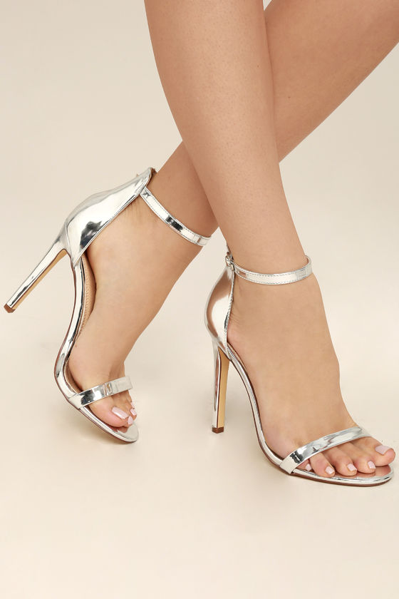 All-Star Cast Silver Patent Ankle Strap Heels 2