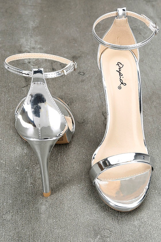 All-Star Cast Silver Patent Ankle Strap Heels 3