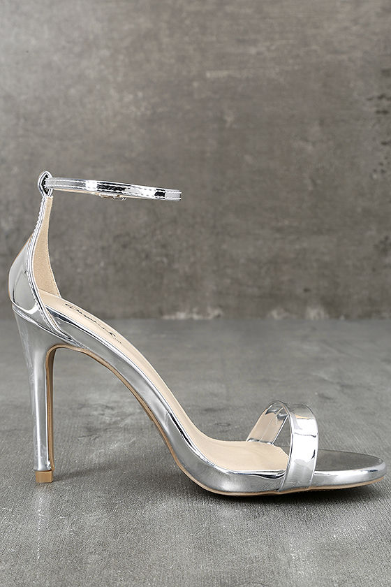 All-Star Cast Silver Patent Ankle Strap Heels 4