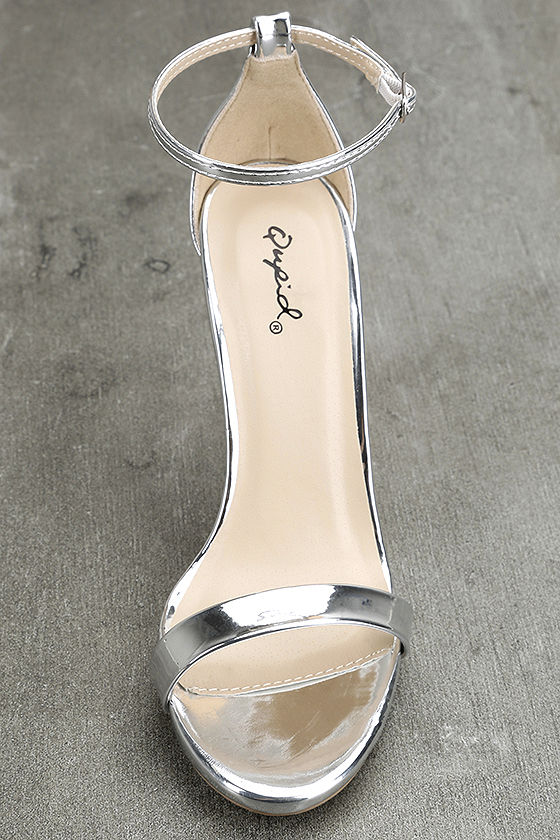 All-Star Cast Silver Patent Ankle Strap Heels 5
