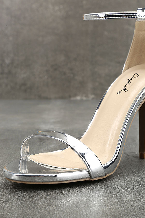 All-Star Cast Silver Patent Ankle Strap Heels 6