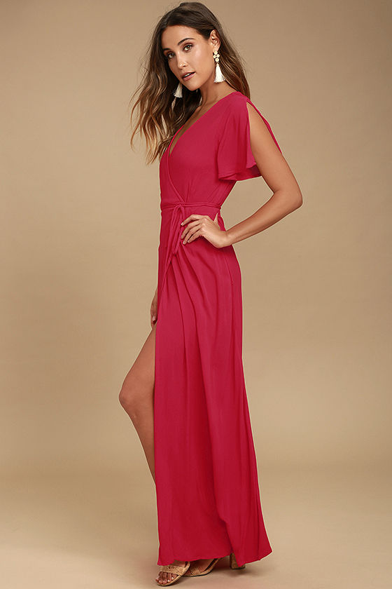 Much Obliged Red Wrap Maxi Dress 2