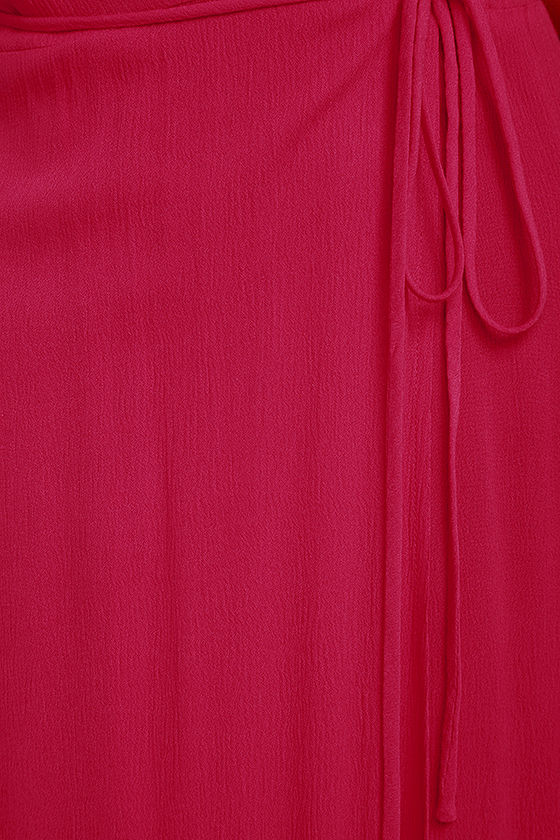 Much Obliged Red Wrap Maxi Dress 6