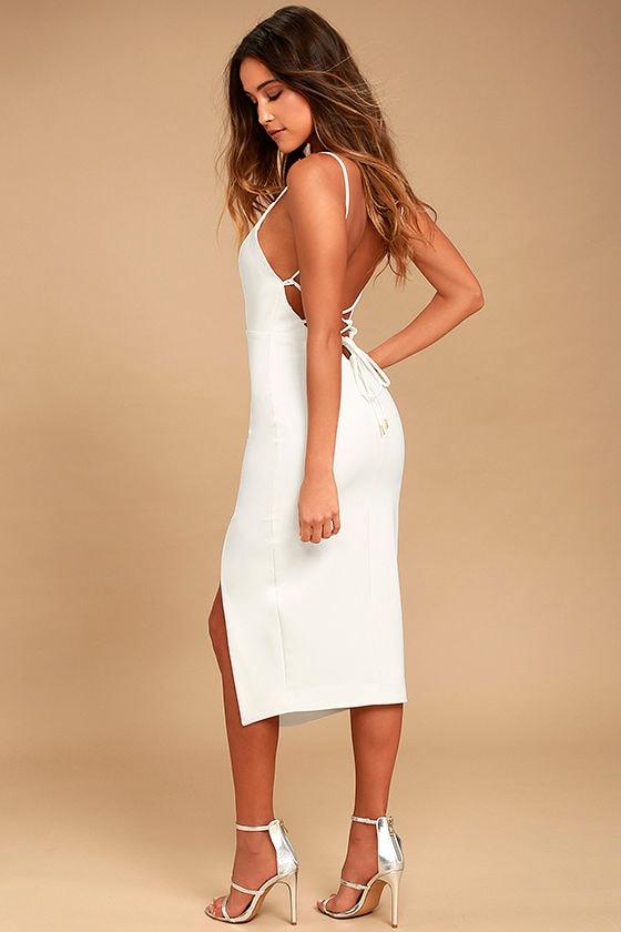 d798d0a18b0 Grace Willow The Label Sharni - White Dress - Lace-Up Dress - Midi Dress