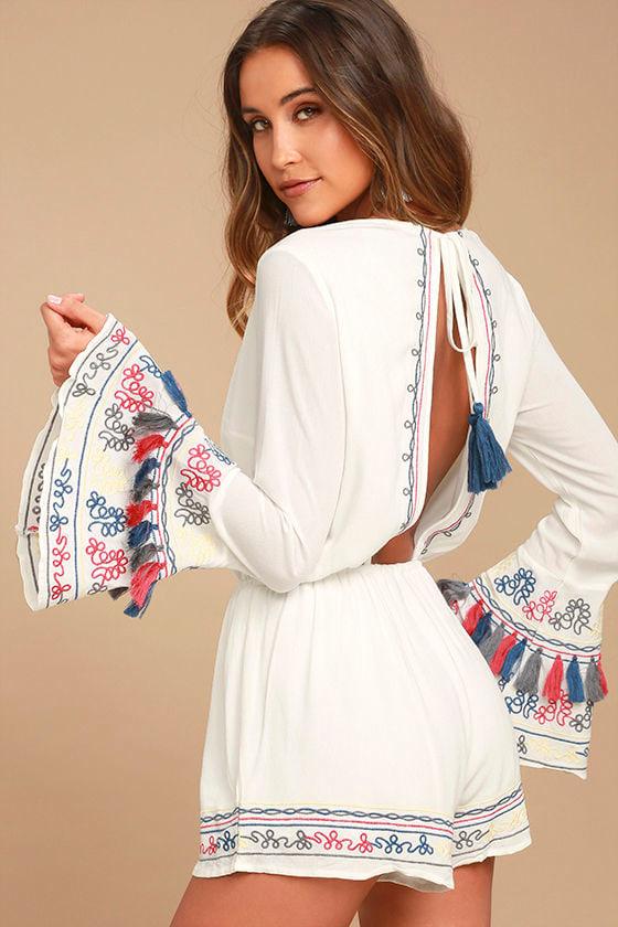 b7d49ce322b Cute White Romper - Embroidered Romper - Long Sleeve Romper - Tassel Romper  -  79.00