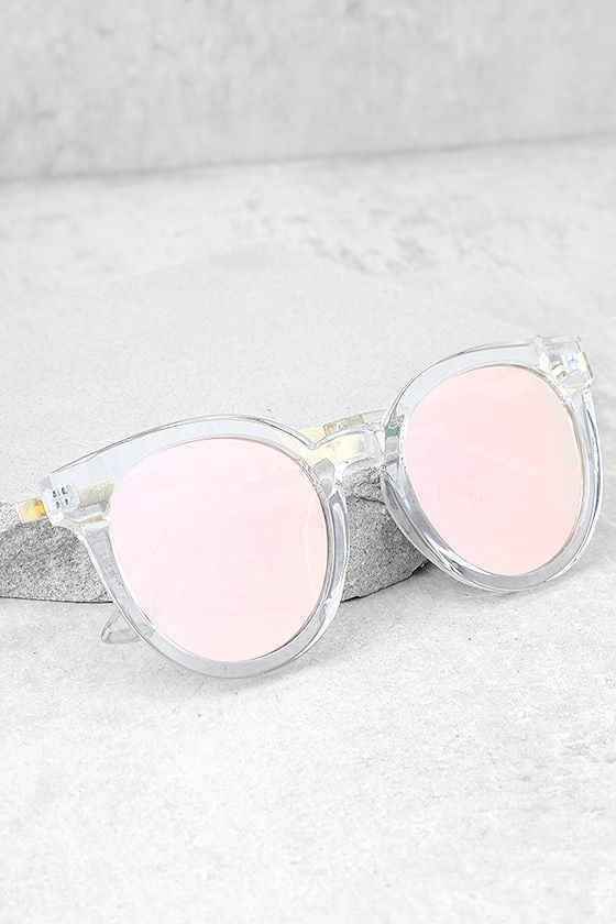 Hi There Clear and Pink Mirrored Sunglasses 1