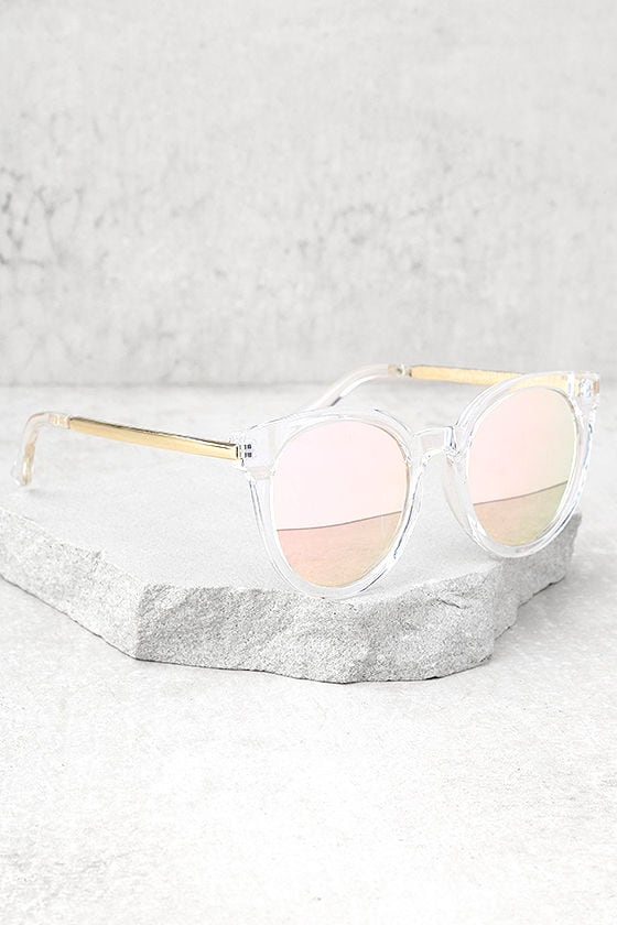 Hi There Clear and Pink Mirrored Sunglasses 2