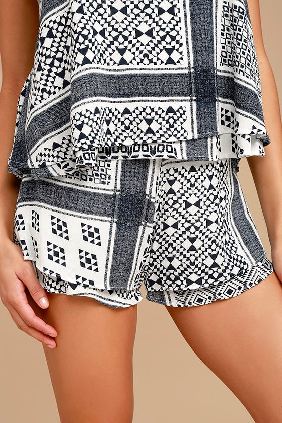 True of Heart Blue and White Print Shorts 1