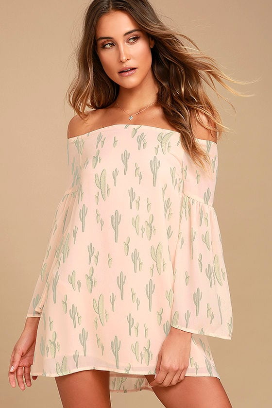 Saguaro Tomorrow Blush Pink Cactus Print Off-the-Shoulder Dress 1