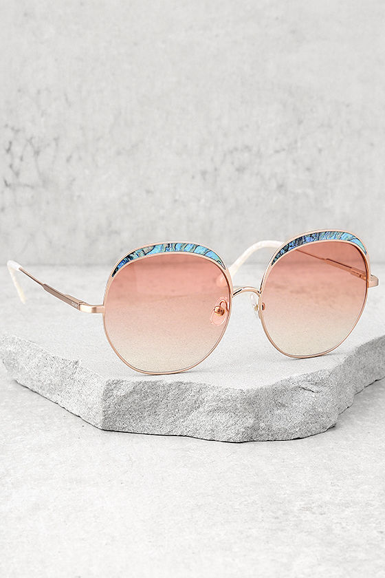 Crap Eyewear The Cloud Magic Turquoise and Rose Gold Sunglasses 2