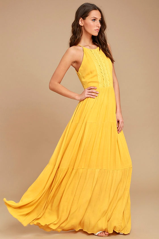 e56ebee6c0c4 Golden Yellow Sleeveless Dress - Embroidered Maxi Dress