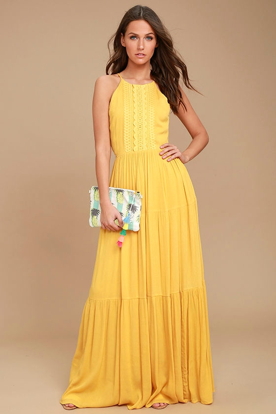For Life Golden Yellow Embroidered Maxi Dress 2