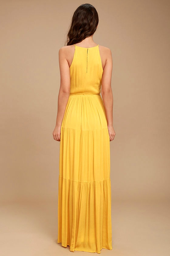 For Life Golden Yellow Embroidered Maxi Dress 4