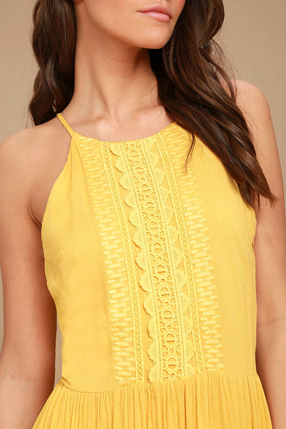 For Life Golden Yellow Embroidered Maxi Dress 5