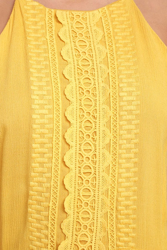For Life Golden Yellow Embroidered Maxi Dress 6