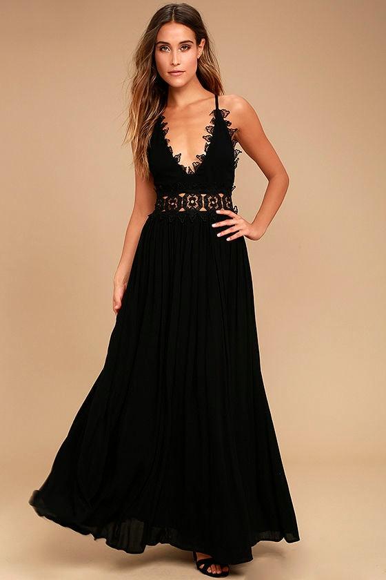 895ae52ca18 Lovely Black Maxi Dress - Lace Maxi Dress - Plunge Neck Maxi