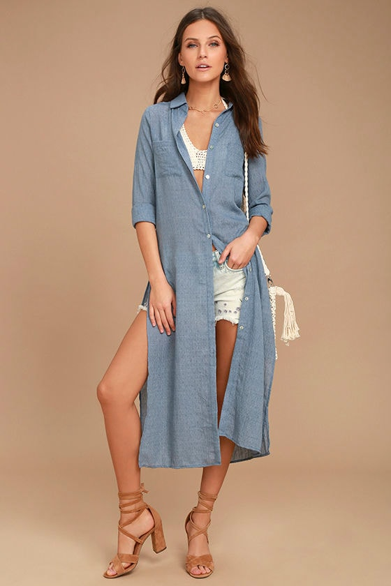 Sweet Cottage Denim Blue Long Sleeve Cover-Up 1