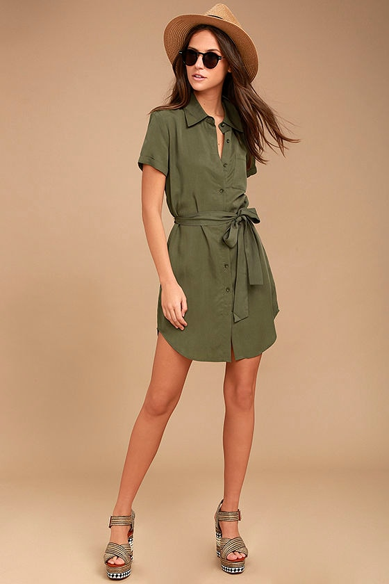 339013d1 Cute Olive Green Dress - Shirt Dress - Short Sleeve Dress - $51.00