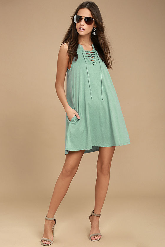 All Tied Up Sage Green Lace-Up Dress 2