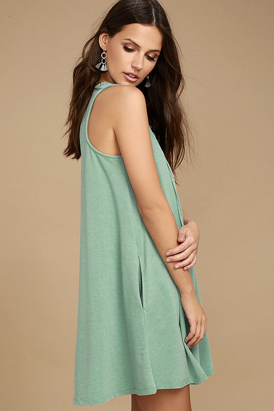 All Tied Up Sage Green Lace-Up Dress 3