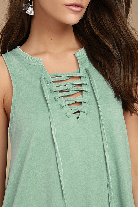 All Tied Up Sage Green Lace-Up Dress 5
