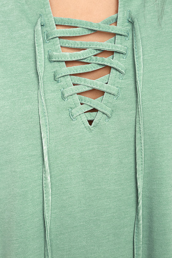 All Tied Up Sage Green Lace-Up Dress 6
