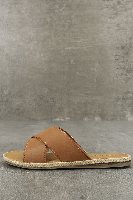 Koren Tan Espadrille Slide Sandals 1