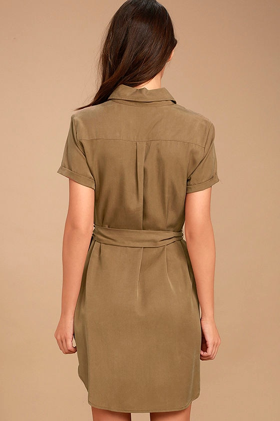 cute light brown dress shirt dress short sleeve dress