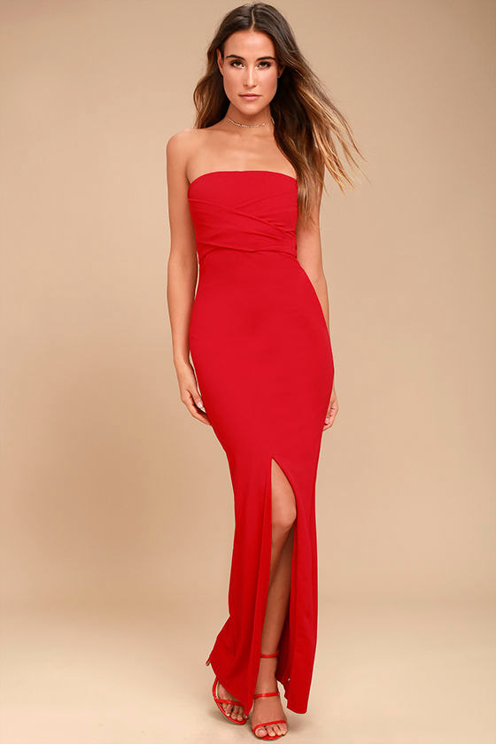 Lovely Red Dress - Strapless Dress - Maxi Dress - Gown - $72.00