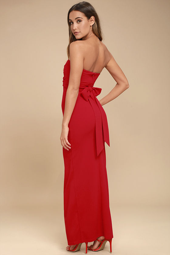 Own the Night Red Strapless Maxi Dress 2