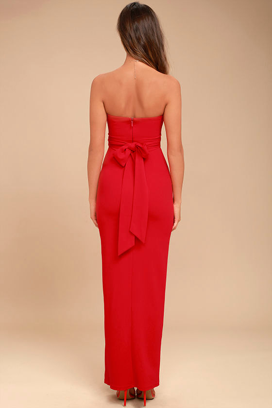 Own the Night Red Strapless Maxi Dress 3