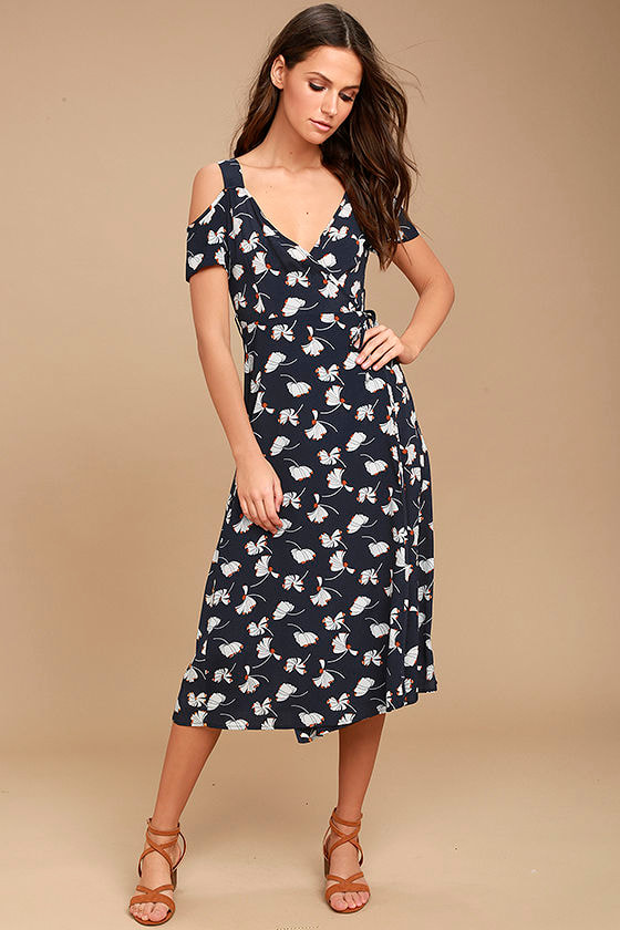 Glamorous Kayden Navy Blue Print Midi Wrap Dress 1