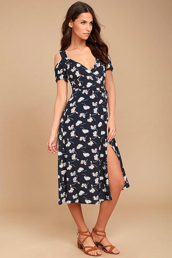 Glamorous Kayden Navy Blue Print Midi Wrap Dress 2