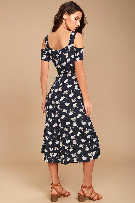 Glamorous Kayden Navy Blue Print Midi Wrap Dress 3