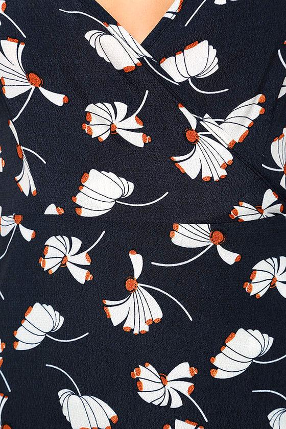 Glamorous Kayden Navy Blue Print Midi Wrap Dress 6