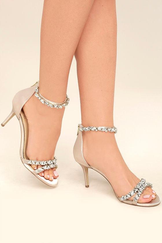 be8406ecdbf Jewel by Badgley Mischka Caroline - Champagne Satin Heels ...