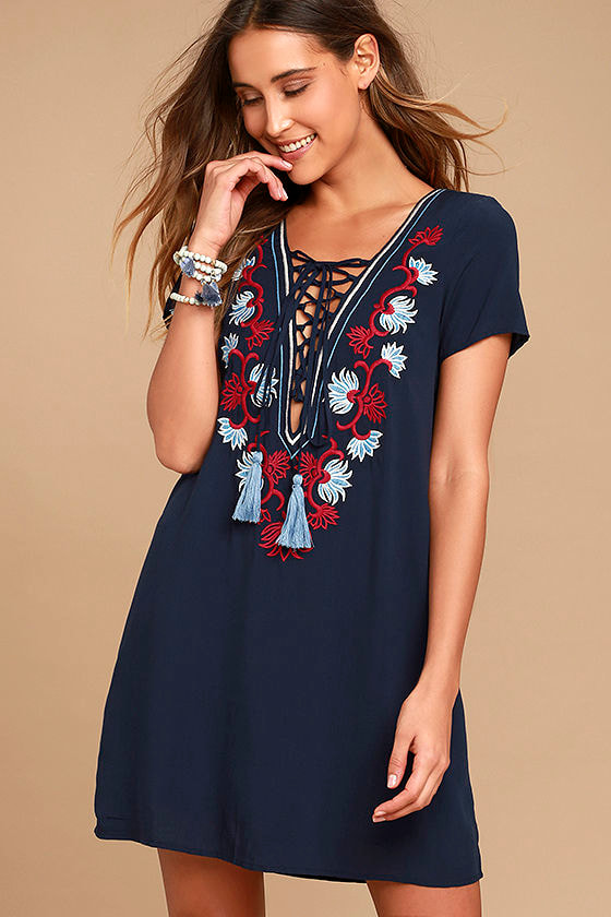 e19e7a66a Lovely Navy Blue Shift Dress - Embroidered Dress - Lace-Up Dress - $54.00