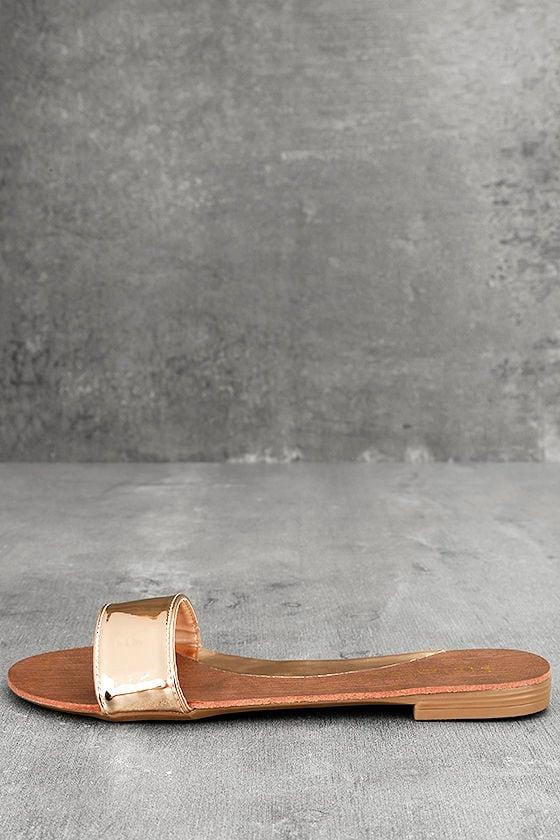 da79a5c19 Cute Rose Gold Sandals - Metallic Slide Sandals - Vegan Leather ...