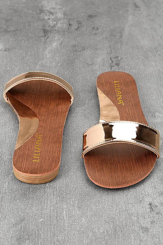 Nori Rose Gold Patent Slide Sandals 3