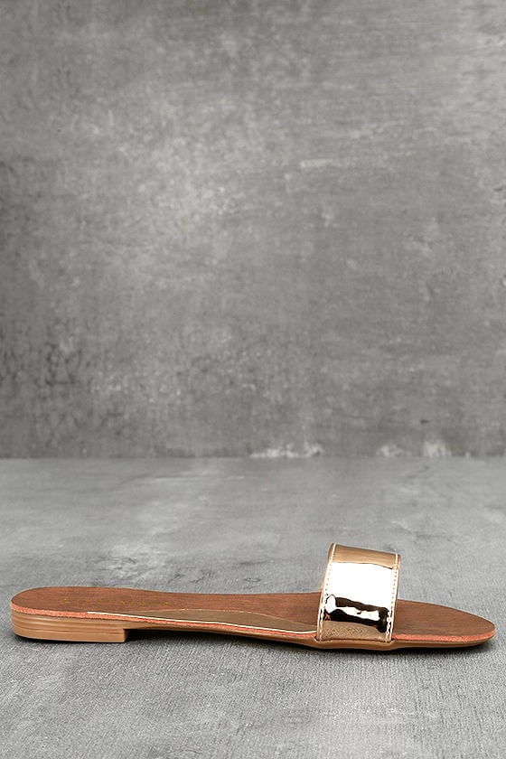 Nori Rose Gold Patent Slide Sandals 4