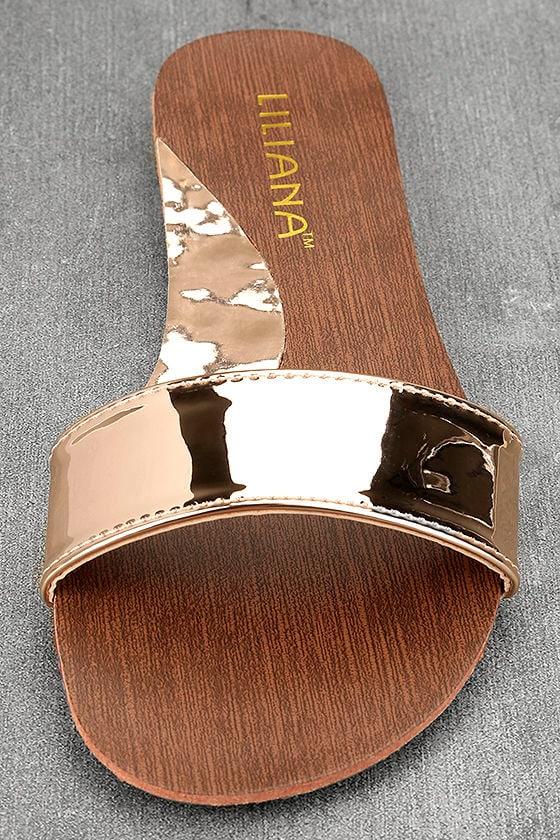 Nori Rose Gold Patent Slide Sandals 5