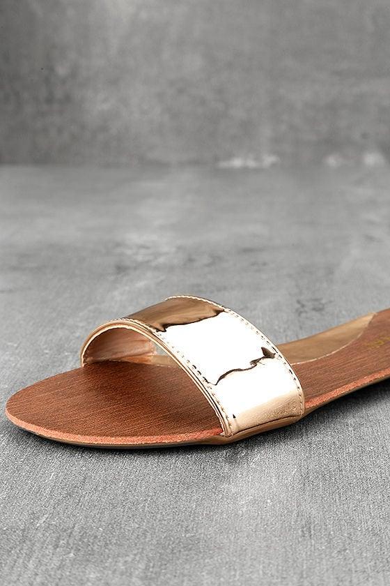 Nori Rose Gold Patent Slide Sandals 6
