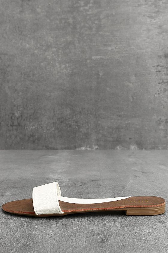 Nori White Slide Sandals 1