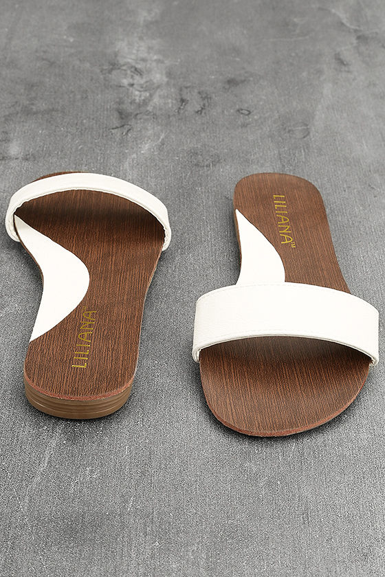 Nori White Slide Sandals 3