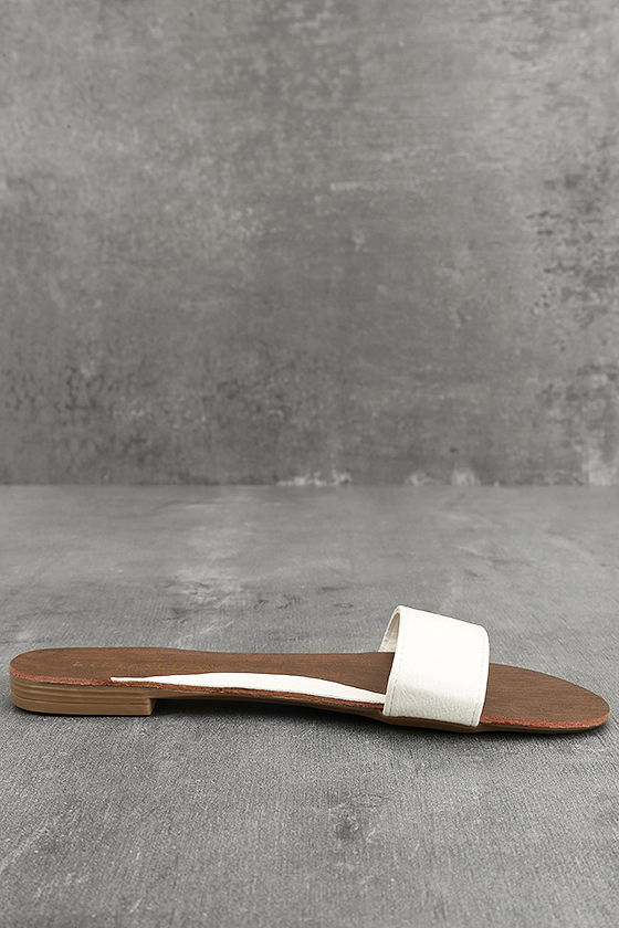 Nori White Slide Sandals 4