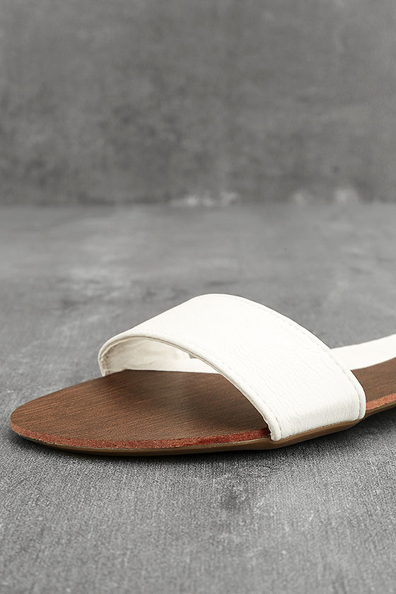 Nori White Slide Sandals 6