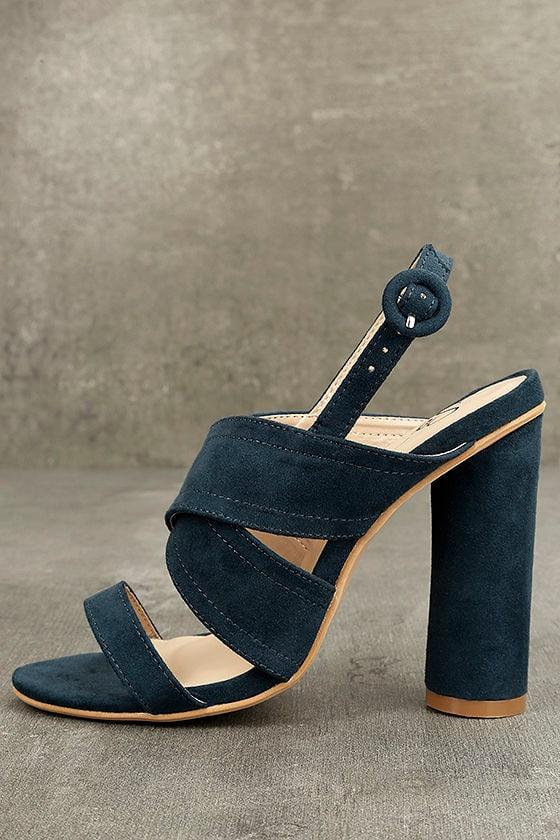 Abiona Navy Suede High Heel Sandals 1