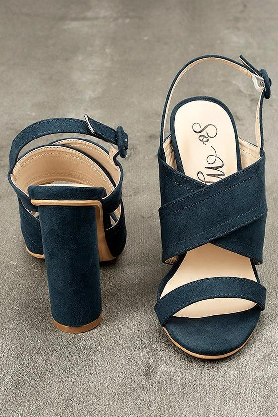 Abiona Navy Suede High Heel Sandals 3